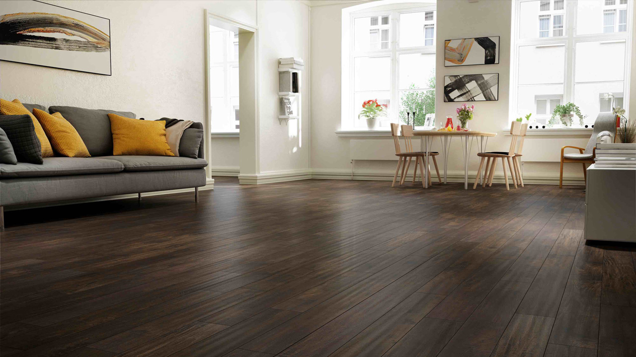 Smoked effect hardwood floor - kub studio 3D photorealistic rendering