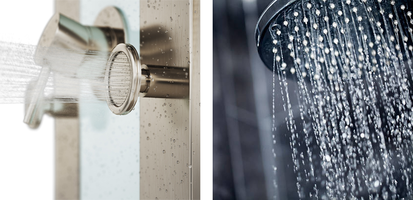 3D image water rendering vs photo rain shower