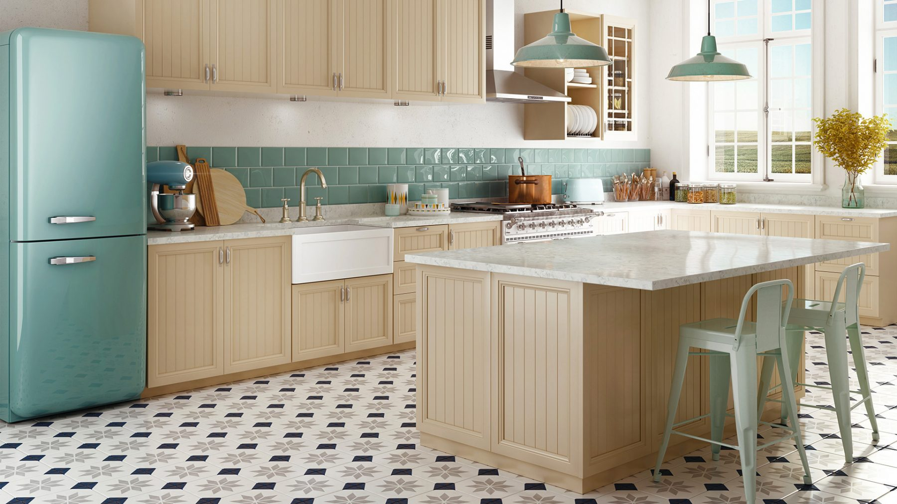 3d photo retro vintage kitchen design