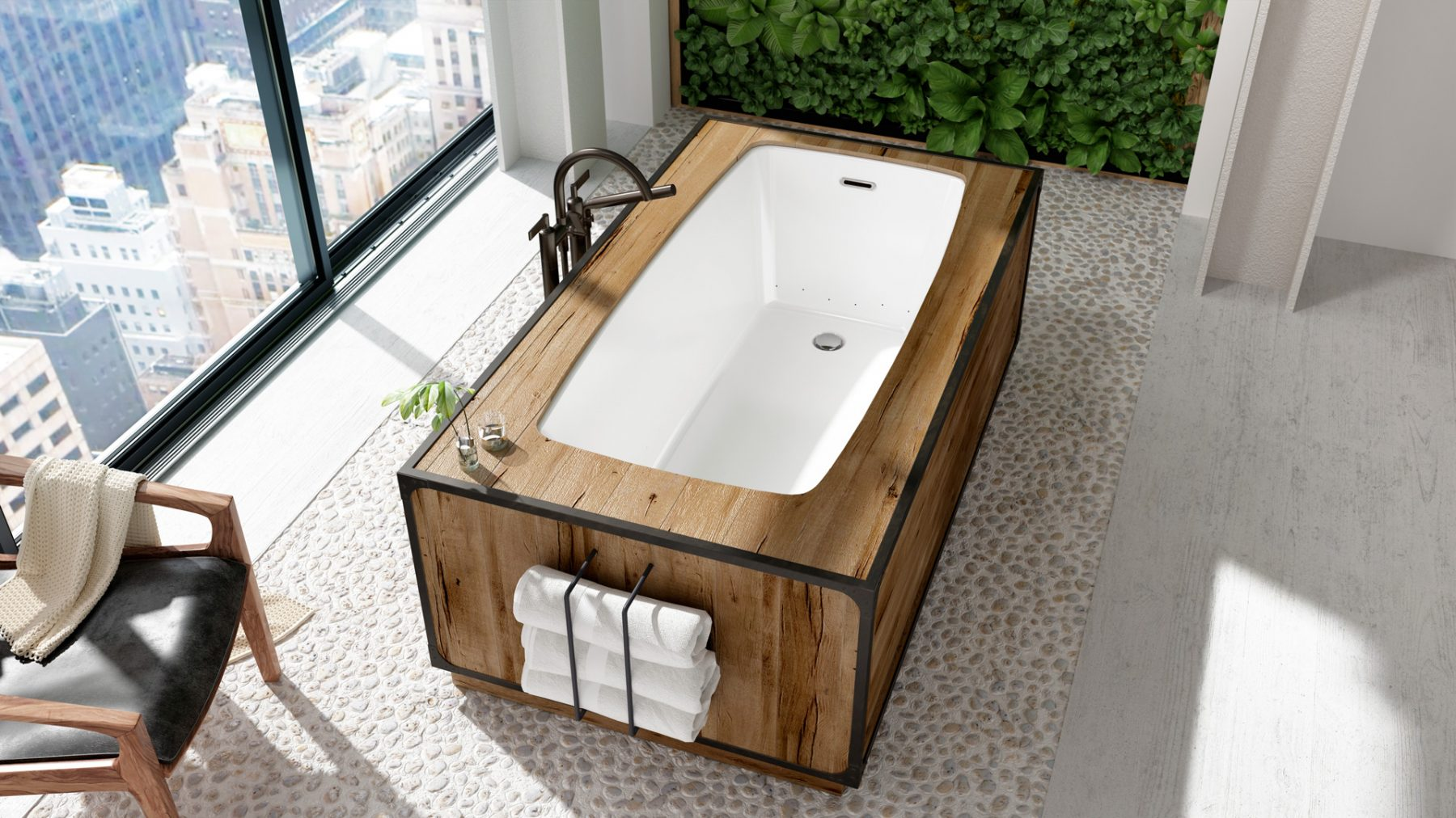 bain podium-3d-studio design-rendering-mur vegetal cgi