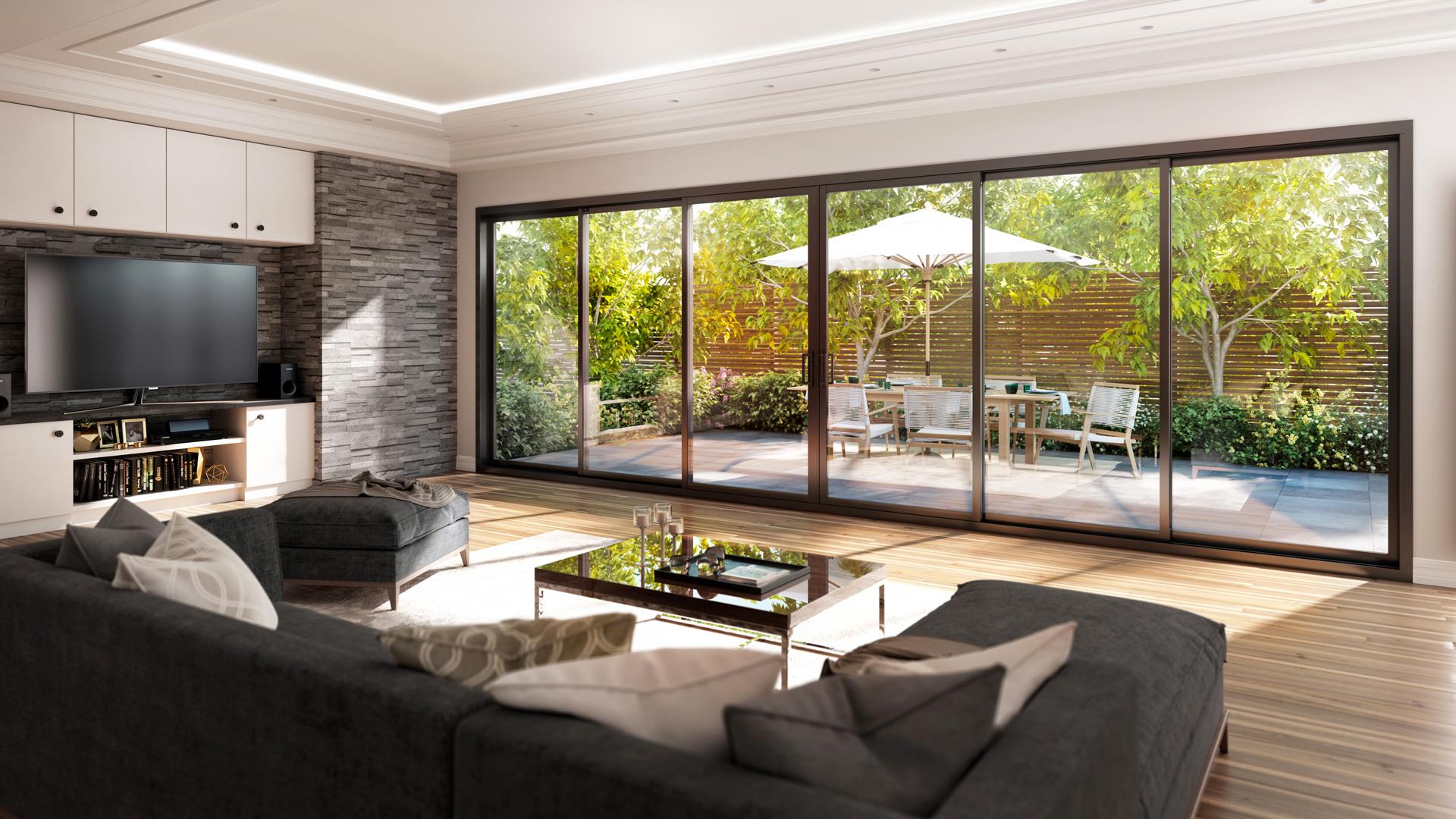 Rendu 3D salon bay window