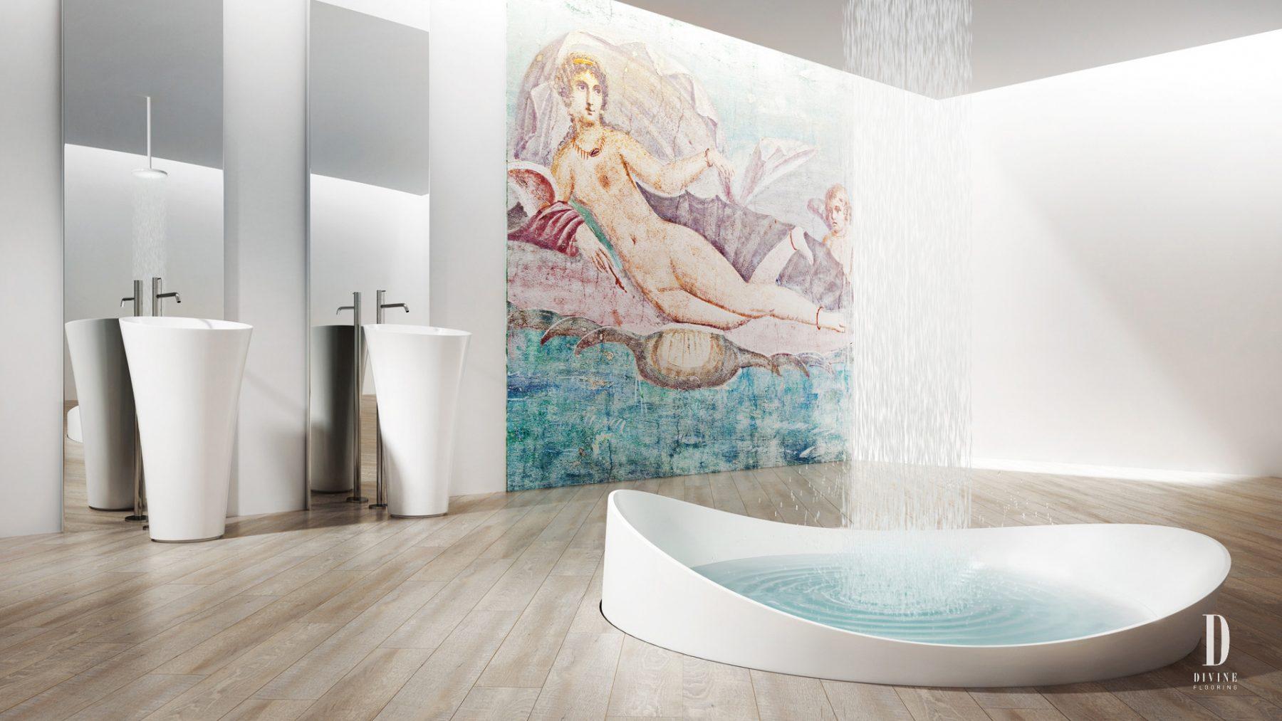 creation 3D artistique salle de bain blanche art