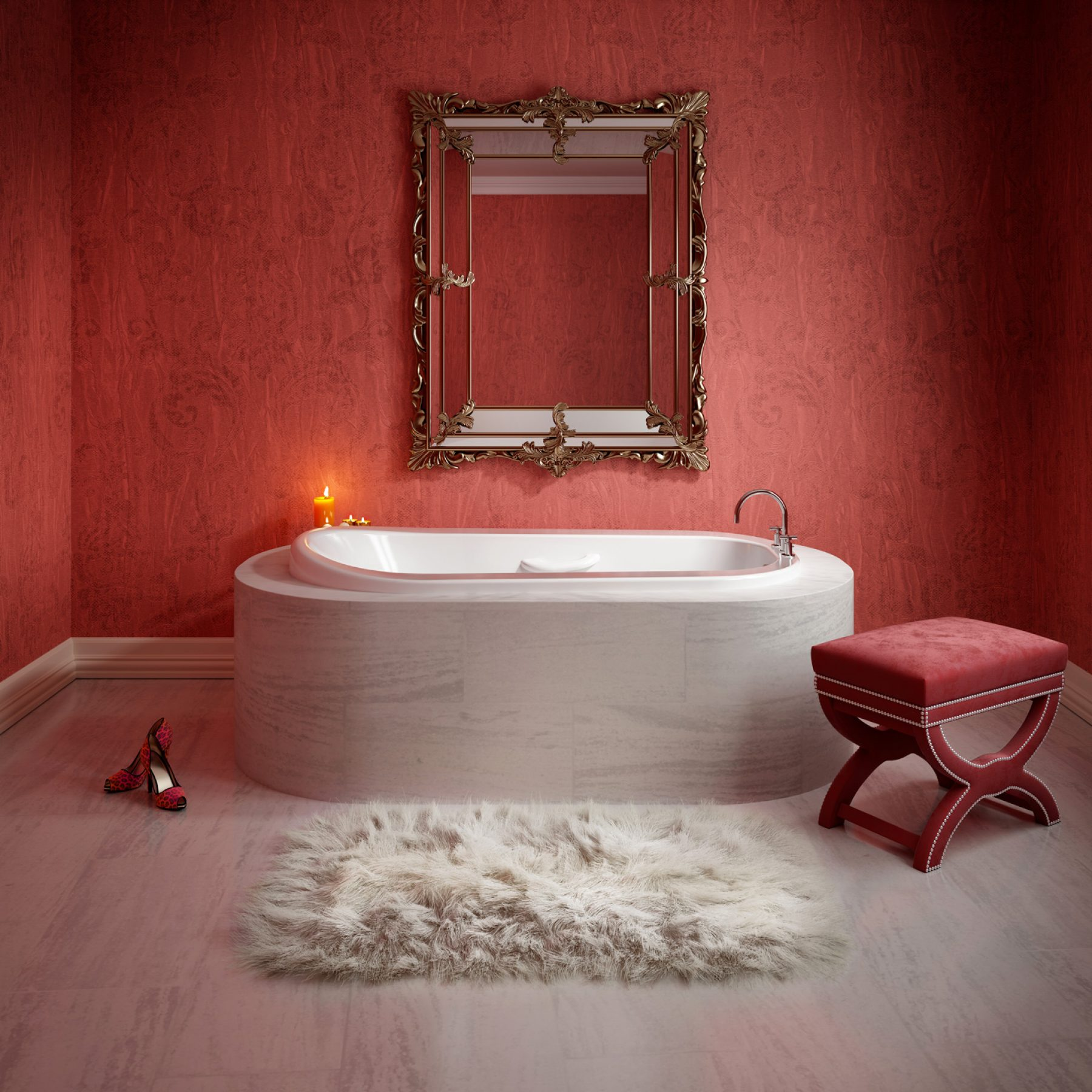 dessin-photorealiste-rouge-salle-de-bain