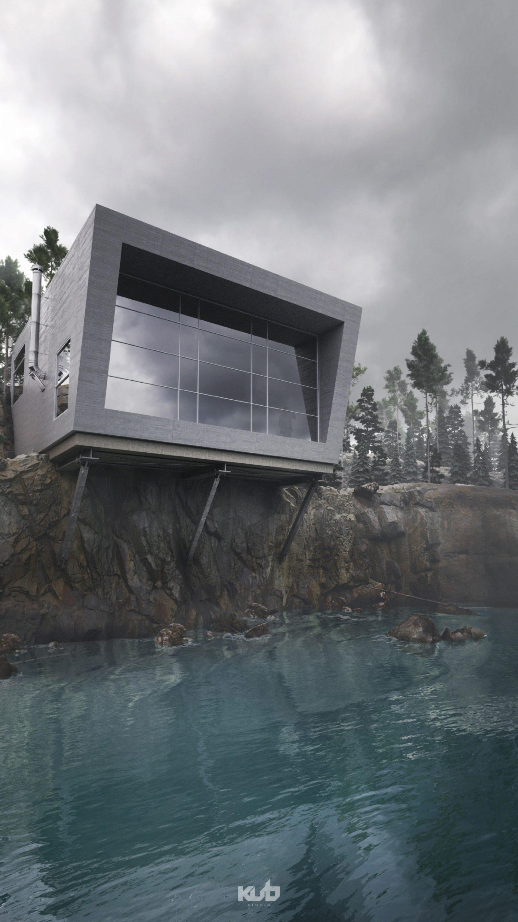 projet 3D montagne riviere architecture photorealiste