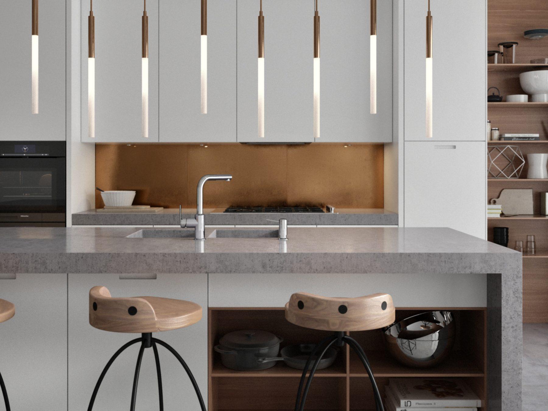 3D modern kitchen best realistic studio