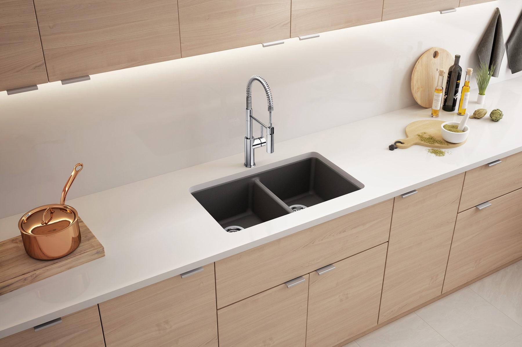 3d rendering animation studio white kitchen sink