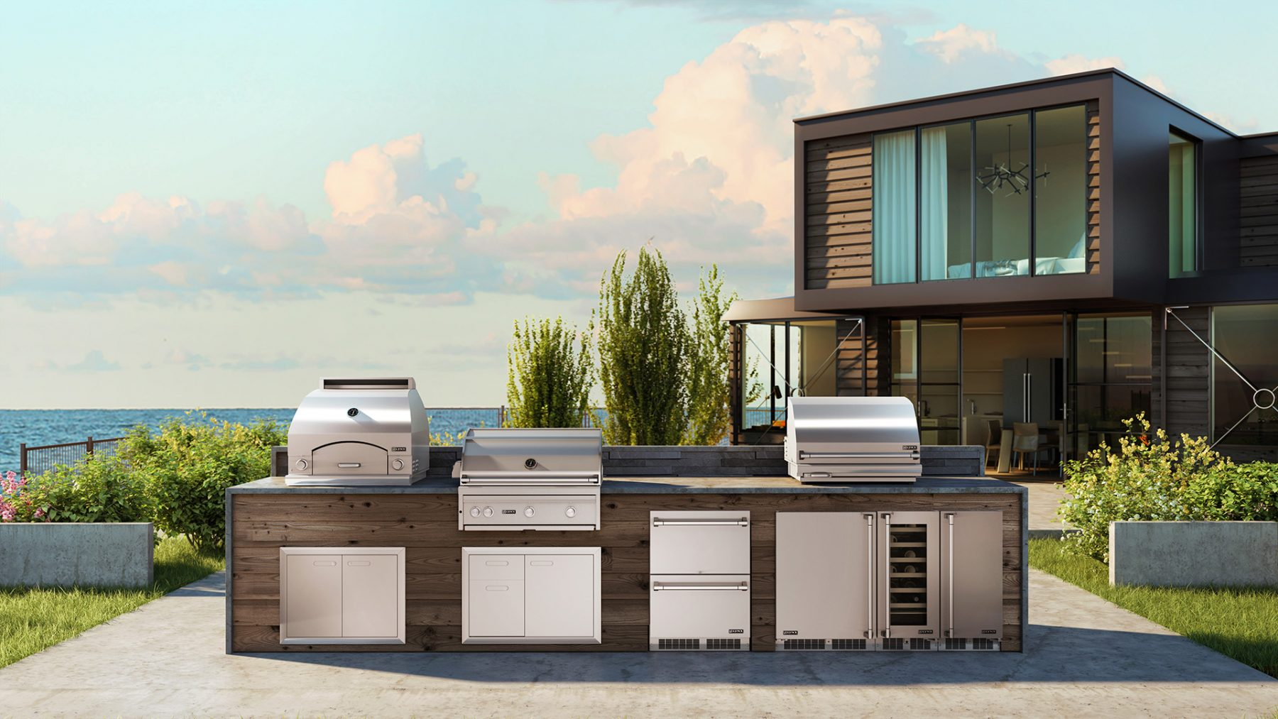 exterior design realistic outdoor grill setup