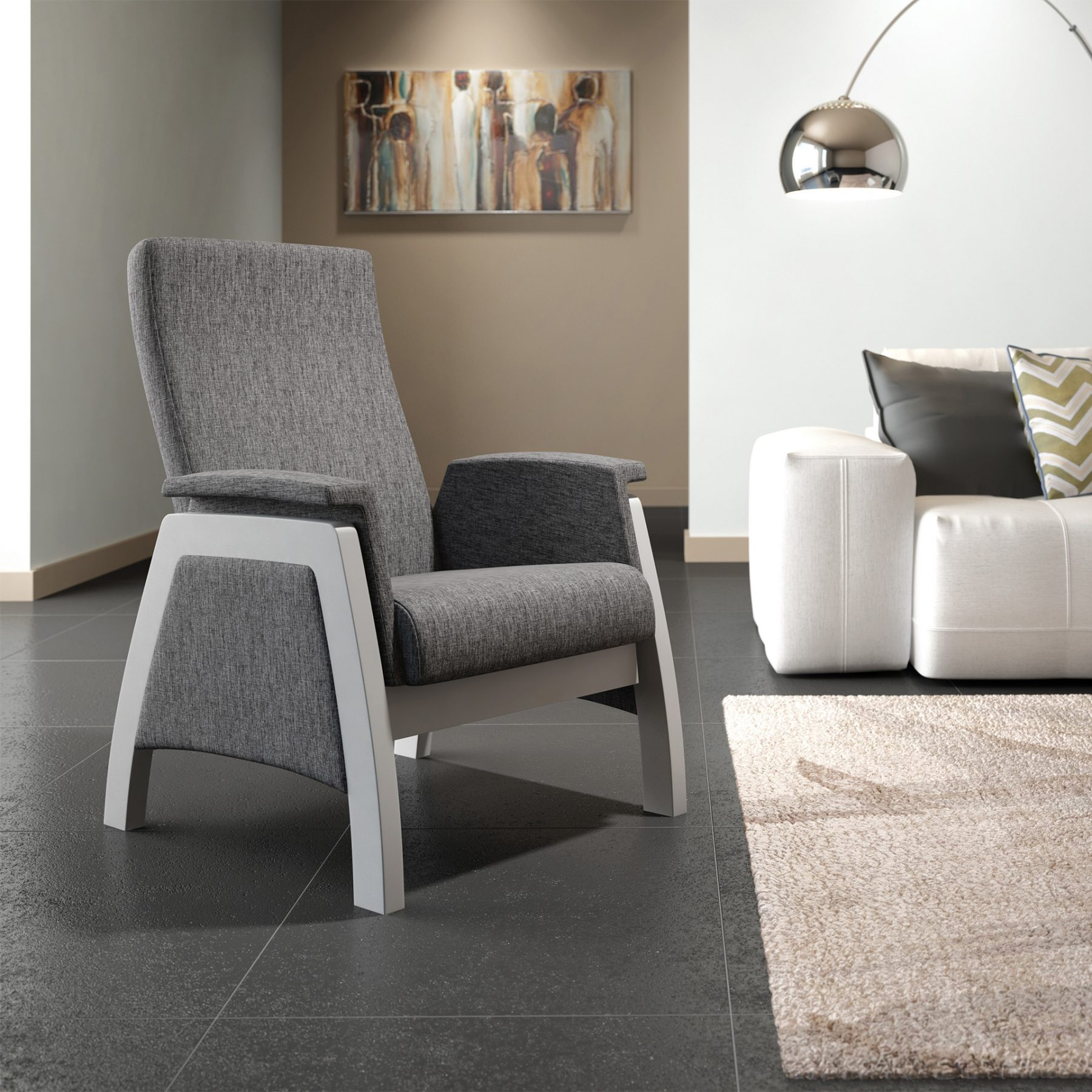 3d product rendering grey chair
