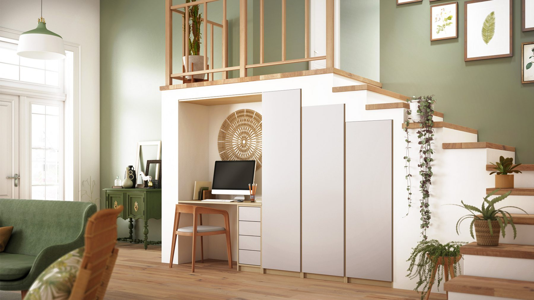 3d salon bois plantes nature contemporain escaliers bureau