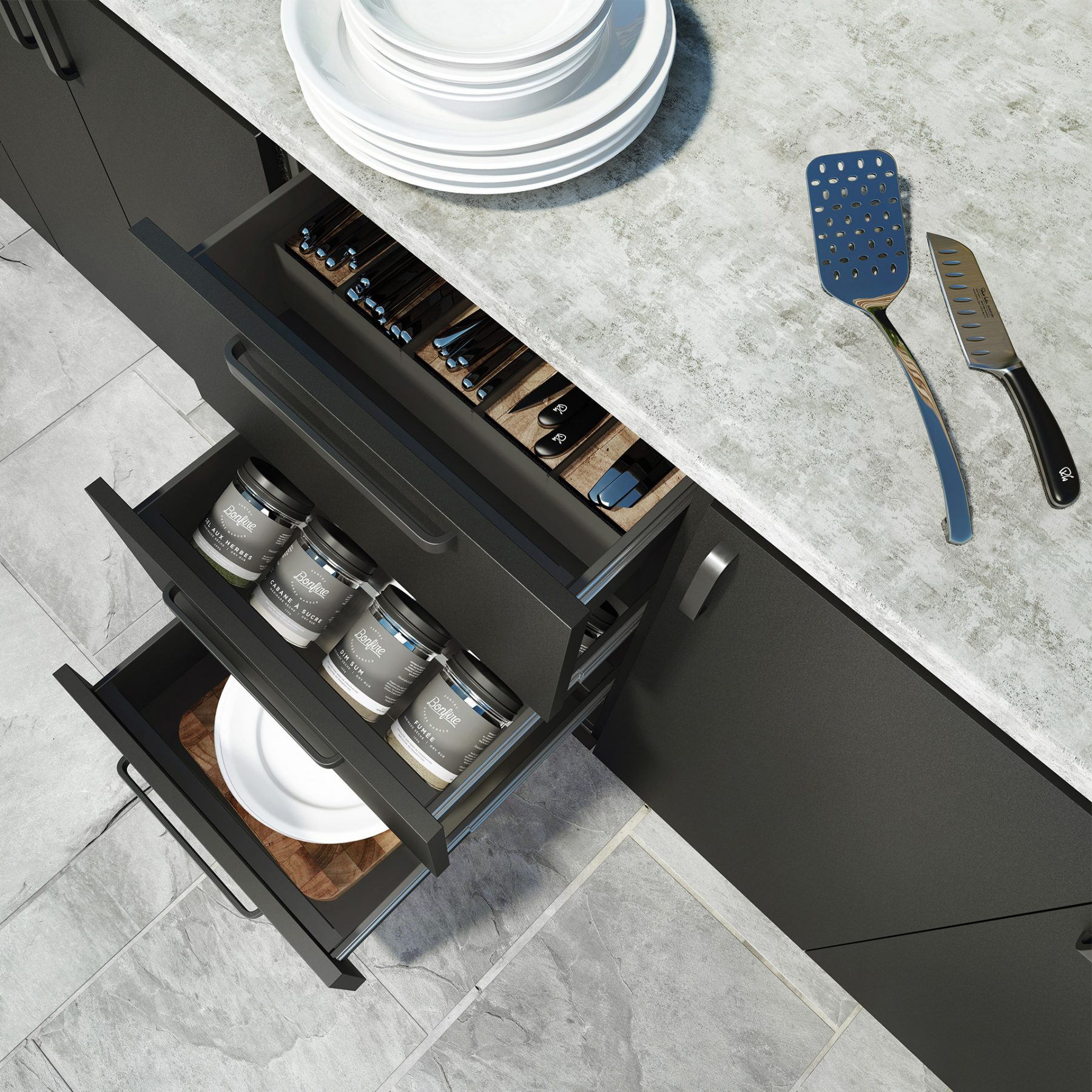 3d visualization outsourcing outdoor kitchen drawer