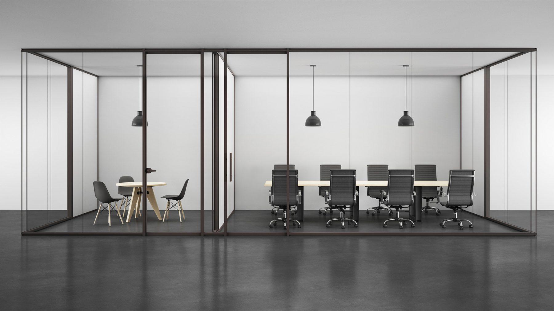 ambiance 3D photorealiste noir mur vitre