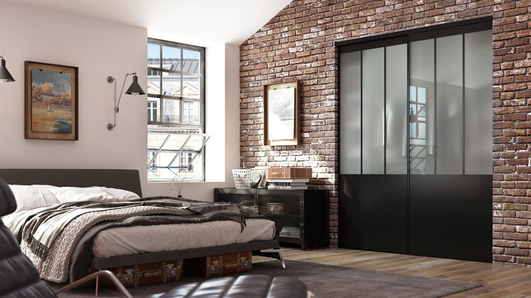 brique industriel charcoal 3D bedroom brick