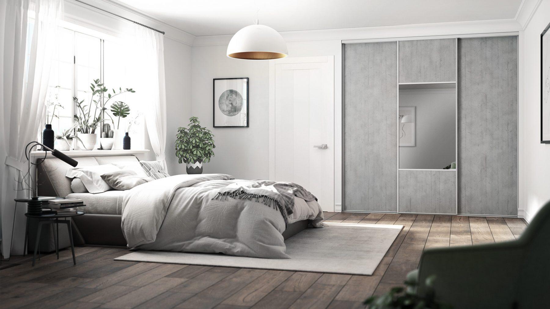 imagerie 3d illustration chambre gris lit comfortable garde robe