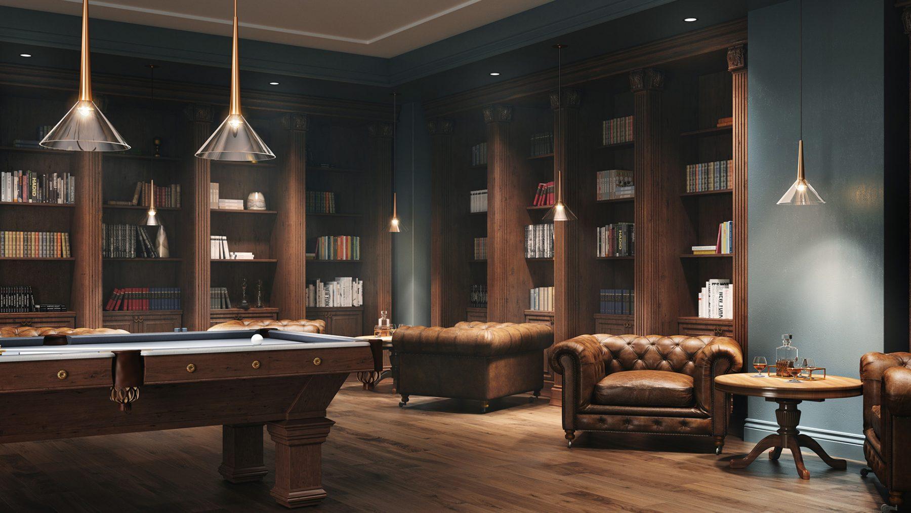 modelisation 3D salon de billard bleu