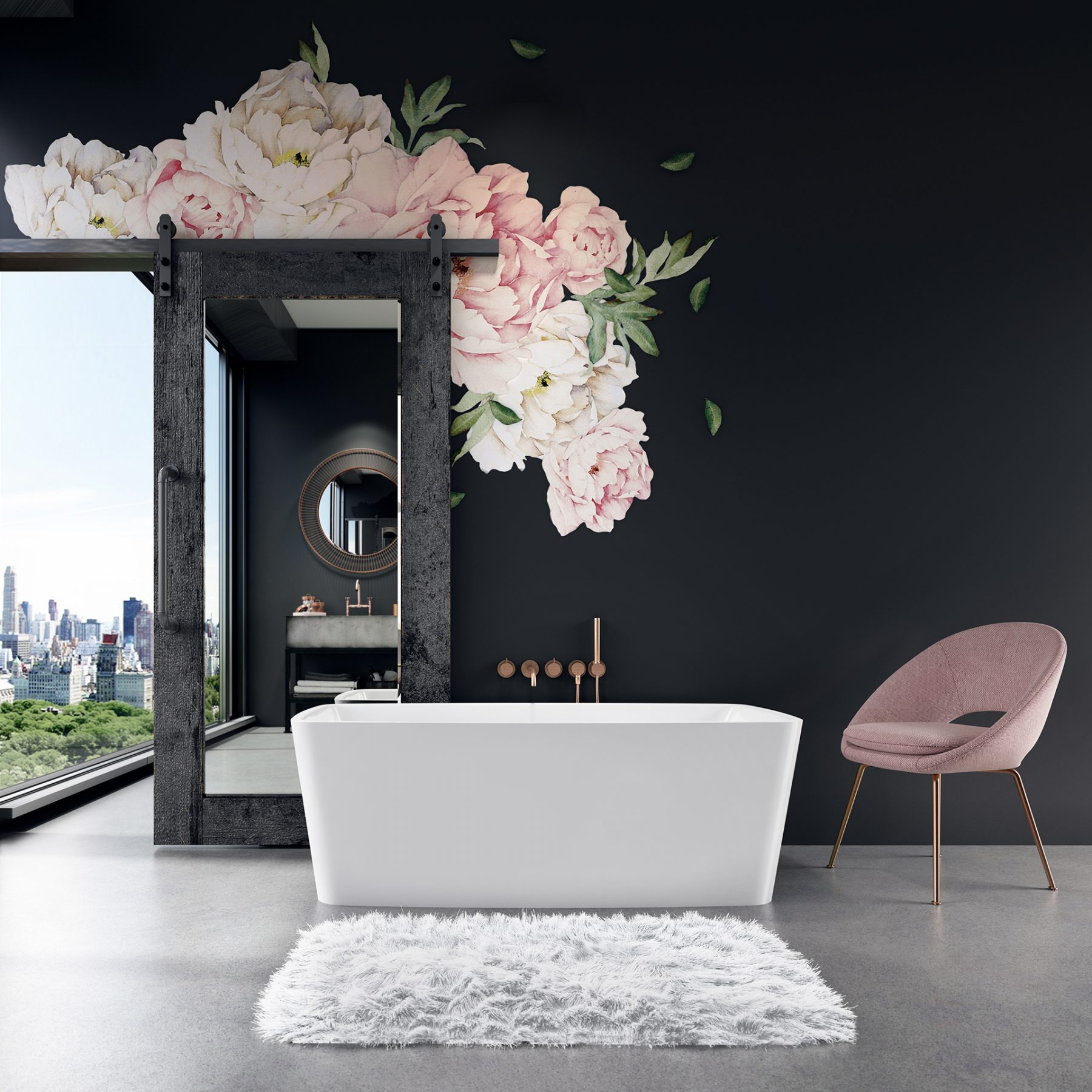 3d-black-design-pink-flower-bathroom-tub-hair-and-fur
